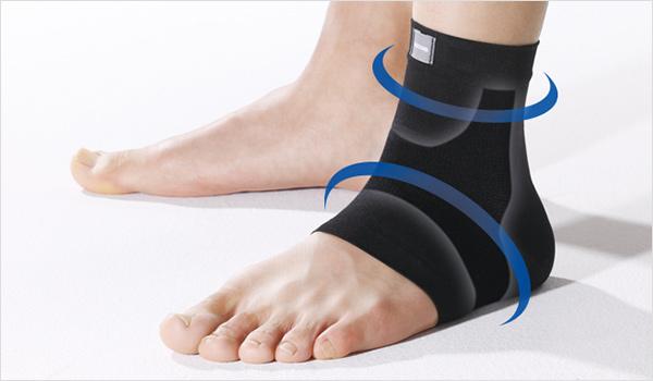 足首を軽く圧迫・保護